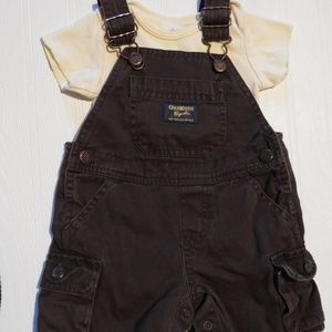Size 9 Month OshKosh B'Gosh Brown Overall Shorts